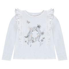 T-shirt met lange mouwen met volants en print met pop