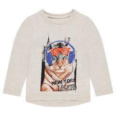 T-shirt met lange mouwen en tijgerprint