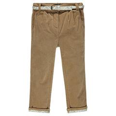 Pantalon chino en velours à ceinture imprimée
