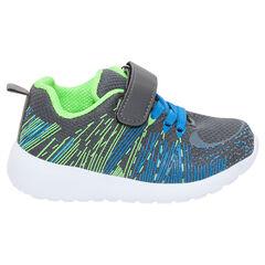 Lage sneakers met elastische veters en klittenbandsluiting