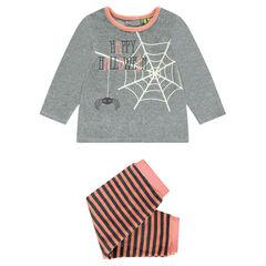 HALLOWEEN pyjama van velours met print met spinnenweb