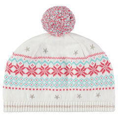 Bonnet en tricot avec motif jacquard et pompon