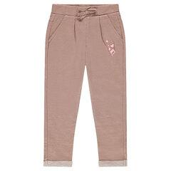 Pantalon en molleton et lurex avec coeurs printés