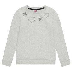 Junior - Sweat en molleton avec étoiles en sequins argentés