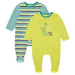 Set met 2 pyjama's van effen velours met motief/strepen