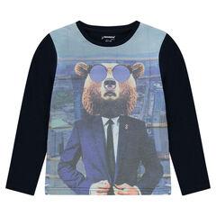 Junior - T-shirt met lange mouwen met print met beer
