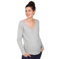 Zwangerschapstrui van geribbelde tricot