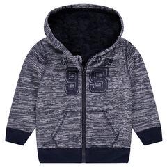 Junior - Vest van molton met sherpavoering en met kap