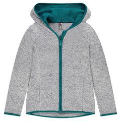 Junior - Gilet zippé effet tricot doublé micropolaire