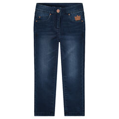 Slim-fit jeans van molton met kroontje van lovertjes