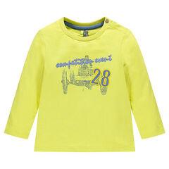 T-shirt lange mouwen in effen kleur met geborduurde inscripties