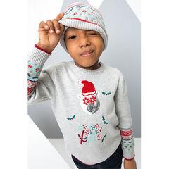 Pull en tricot de Noël avec ours printé et motif jacquard