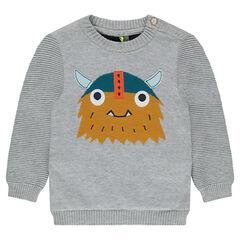 Pull en tricot avec motif viking et dos contrasté