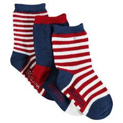 Set van 3 paar sokken in effen kleur met strepen
