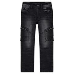 Slim-fit jeans met used effect en zakken met ritssluiting