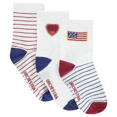 Set van 3 paar bijpassende sokken met motief en strepen