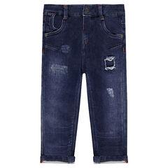 Jeans van molton met used effect en fantasiescheuren