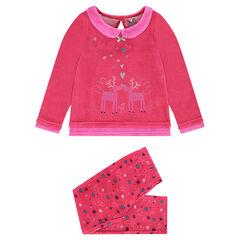 Pyjama van velours met elandprint en broek met sterrenprint