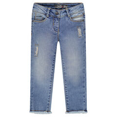 7/8 slim fit jeans met used effect
