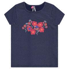 T-shirt met korte mouwen met bloemen- en stippenprint