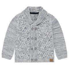 Vest van gemengde tricot met sjaalkraag