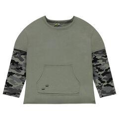 Junior - Sweater van molton met 2-in-1 effect en mouwen met legermotief