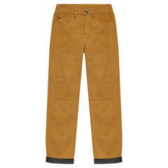 Junior - Linnen broek met voering van jerseystof en inzetstukken