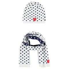 Setje muts sjaal in stippen tricot patch Minnie Disney