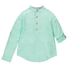 Junior - Chemise manches longues à rayures verticales et col mao