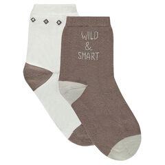Set met 2 paar matching sokken met jacquardmotief