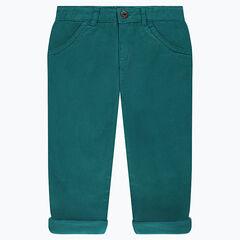 Pantalon en twill doublé jersey