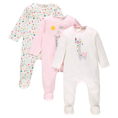 Set met 3 katoenen pyjama's met opening aangepast aan de leeftijd