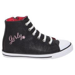 Hoge, zwarte sneakers met pailletjes,  ritssluiting en elastische veters