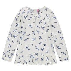 Junior - Tuniek van voile met vogelprint
