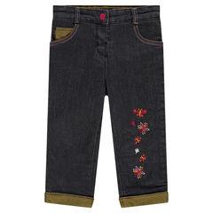 Jeans met geborduurde bloemen en met voering van microfleece