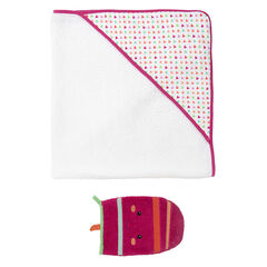 Set de bain cape et gant de toilette fantaisie