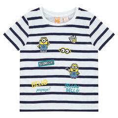 Gestreepte t-shirt met korte mouwen en Minionprint