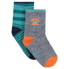 Lot de 2 paires de chaussettes assorties à motif hamburger/rayées