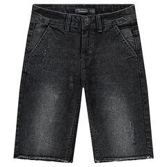 Junior - Jeansbermuda met used effect en onafgewerkte randen