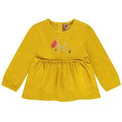 Tuniek van decoratief tricot met borduurwerk en ruches