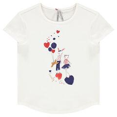T-shirt met korte mouwen en fantasieprint en pailletten