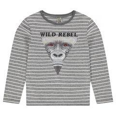 Junior - Tee-shirt manches longues rayé avec tête de singe printée
