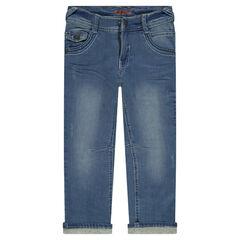 Straight-fit jeans met effect used en crinkle, voering van jerseystof