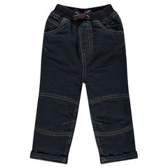 Jeansbroek met flanel ster voering borduursel