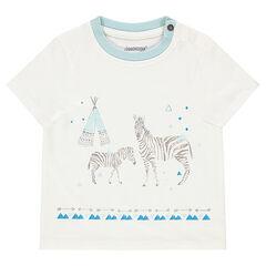 Tee-shirt manches courtes avec zèbres printés