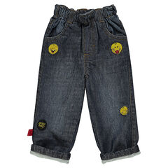 Jeansbroek used effect en crinkle effect patch