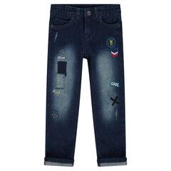 Straight-fit jeans met used effect en fantasiebadges