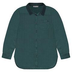Junior - Chemise en coton fantaisie col velours