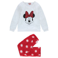 Pyjama van velours met print Minnie en lovertjes