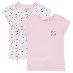 "Lot de 2 tee-shirts (maillots de corps) ""LOVE"""